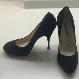 Black suede Brian Atwood pump